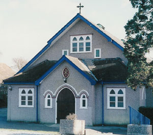 A picture of the front of the church